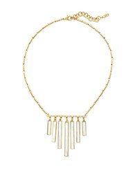 Cole Haan 1 25 Park Avenue Fashion Mother Of Pearl And Crystal Glass Gold Tone White Metal Frontal Fringe Necklace