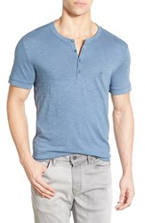 Men's John Varvatos Star Usa Peace Sign Henley Stream Blu