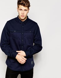 Brave Soul Quilted Thick Shirt Jacket Navy