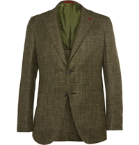 Isaia Green Silk Linen Cashmere And Wool Blend Blazer