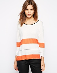 Karen Millen T Shirt In Stripe Print White