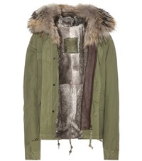 Mr And Mrs Italy Mini Fur Lined Cotton Parka With Fur Trimmed Hood Green