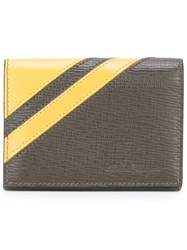 Salvatore Ferragamo Textured Stripe Accent Wallet Brown