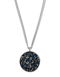 Kenneth Cole Faceted Bead Pendant Necklace Blue Black Silver