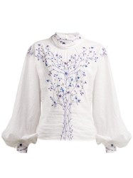 Thierry Colson Teresa Embroidered High Neck Blouse White Navy