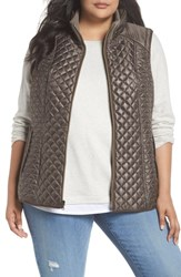 Gallery Plus Size Quilted Vest Smoke