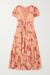 Loveshackfancy Carlton Tiered Floral Print Swiss Dot Cotton Midi Dress Blush