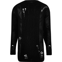 River Island Black Mesh Cable Knit Oversized Jumper