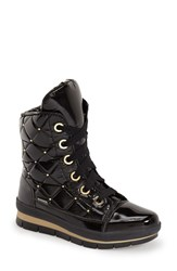 Women's Jog Dog Waterproof Quilted Lace Up Boot Black Gold