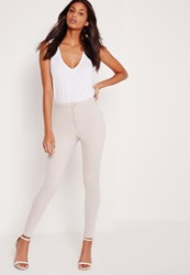Missguided High Waisted Skinny Jeans Nude Grey