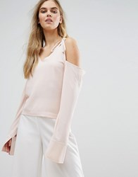 House Of Sunny Cold Shoulder Top With Tie Details Pastel Pink