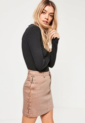 Missguided Nude Lace Up Denim Mini Skirt Camel