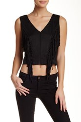 Romeo And Juliet Couture Faux Suede Fringe Tank Black