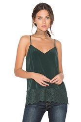 Equipment Layla Lace Trim Cami Dark Green
