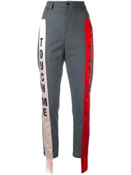 Au Jour Le Jour Contrasting Side Stripe Trousers Grey