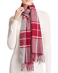 Bloomingdale's C By Cashmere Plaid Scarf Gray Pinot Ivory