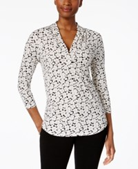 Charter Club 3 4 Sleeve V Neck Top Only At Macy's Black