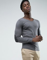 Selected Fitted V Neck Soft Feel Knitwear Gray
