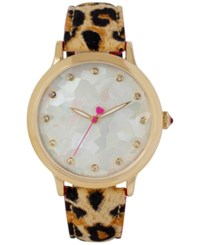 Betsey Johnson Women's Brown Leopard Print Leather Strap Watch 39Mm Bj00531 03