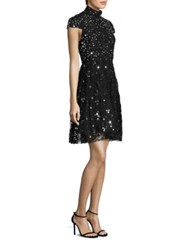 Alice Olivia Maureen Embroidered Party Dress Black