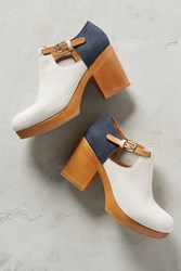 Anthropologie Hl Wood Clog Navy Blue Motif