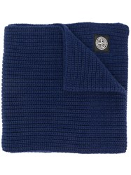 Stone Island Ribbed Knit Scarf Blue
