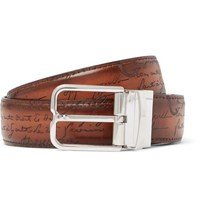 Berluti 3.2Cm Scritto Reversible Leather Belt Tan