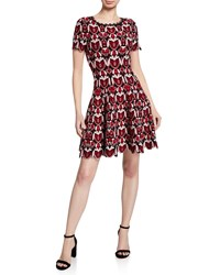 Alaia Scallop Hem Floral Embossed Fit And Flare Dress Black Red