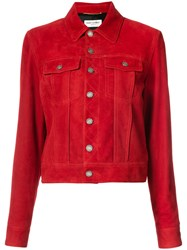Saint Laurent Classic Leather Jacket Women Suede 42 Red