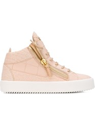 Giuseppe Zanotti Design Zip Detail Hi Top Sneakers Nude And Neutrals