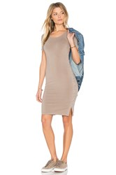 Monrow Fitted Lace Up Dress Taupe