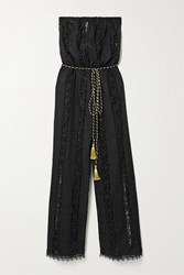 Miguelina Naima Guipure Lace Paneled Embroidered Cotton Jumpsuit Black