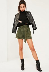 Missguided Khaki Faux Suede Tie Belt Highwaisted Shorts