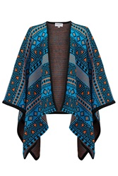Almost Famous Knitted Poncho Blue