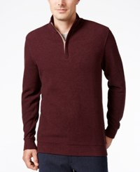 Tasso Elba Men's Honeycomb Textured Quarter Zip Sweater Only At Macy's Wine Heather