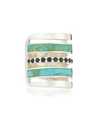 Silver Turquoise Inlay Ring With Black Spinel Pamela Love