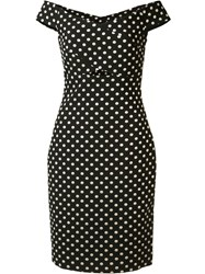 Nicole Miller Off Shoulder Polka Dot Dress Black