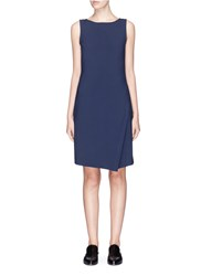 Theory 'Risbana' Virgin Wool Mock Wrap Dress Blue