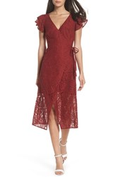Ali And Jay Lace Paper Flowers Wrap Midi Dress Dusty Rose