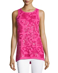 Neiman Marcus Sequined Crew Neck Tank Raspberry