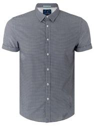 Scotch And Soda Structured Cotton Short Sleeve Shirt Blue