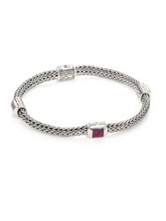 John Hardy Classic Chain Extra Small Silver And Ruby Four Station Bracelet
