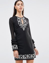 Maya Keyhole Front Ruffle Hem Long Sleeve Dress With Embriodered Detail Black