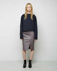 Acne Studios Kay Leather Wrap Skirt Graphite Grey