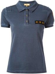 Fay Star Patch Polo Shirt Blue