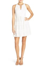 Adelyn Rae Women's Keyhole Front Lace Fit And Flare Dress White
