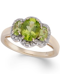 Macy's Peridot 2 1 10 Ct. T.W. And Diamond 1 4 Ct. T.W Oval Ring In 14K Gold