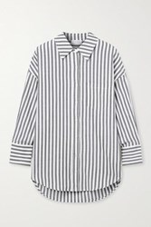 Anine Bing Mika Striped Cotton Poplin Shirt Gray