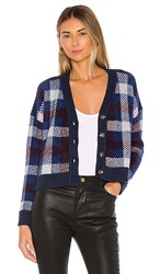 1.State 1. State Button Front Plaid Eyelash Cropped Cardigan In Navy. Blue Velvet