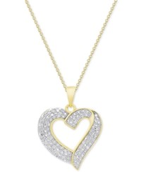 Macy's Diamond Heart Pendant Necklace 1 2 Ct. T.W. In Sterling Silver 18K Gold Plated Sterling Silver Or 18K Rose Gold Plated Sterling Silver Yellow Gold